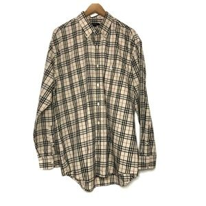 NWOT MEN'S BURBERRY CLASSIC TAN CHECK BUTTON DOWN